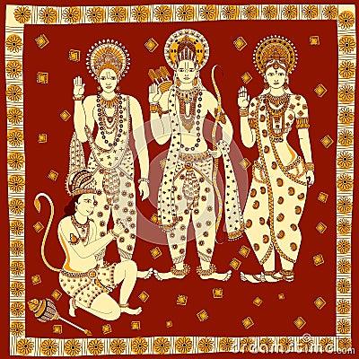 Lord Rama, Laxmana, Sita with Hanuma background Vector Illustration