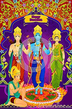 Lord Rama, Laxmana, Sita with Hanuman in vector for Happy Dussehra Vector Illustration