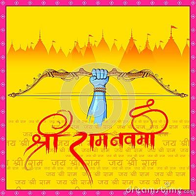 Lord Rama in Ram Navami background Vector Illustration