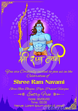 Lord Rama in Ram Navami background Vector Illustration