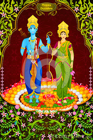 Lord Rama and Sita for Happy Dussehra background Vector Illustration
