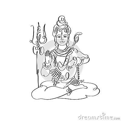 Lord Shiva Black And White Calligraphic Drawing To Maha Shivaratri