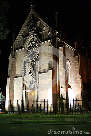 Loretto Chapel in Santa Fe, New Mexico at night
