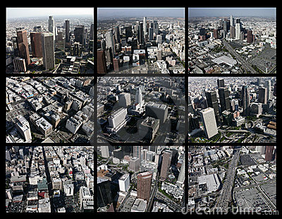 Los Angeles Aerial Editorial Collage Editorial Stock Image