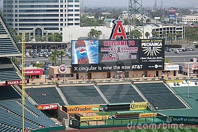 Los Angeles Angel Stadium of Anaheim Scoreboard Editorial Image