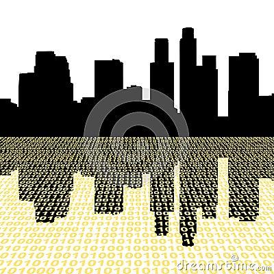 Los Angeles with binary code