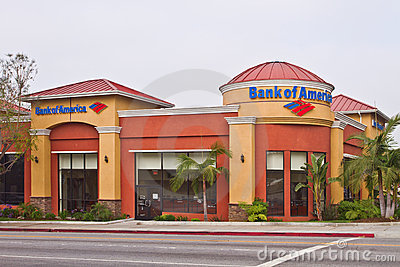 A Los Angeles Branch Office of Bank Of America Editorial Image