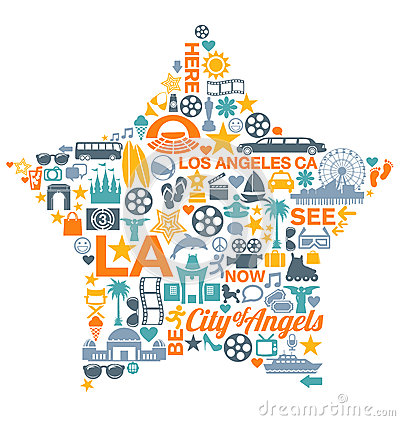 Free Los Angeles California Icons Symbols Landmarks Royalty Free Stock Image - 41397626