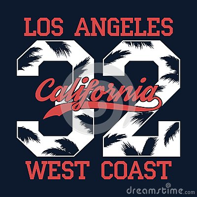 Free Los Angeles, California - Number Print For T-shirt With Palm Tree Leaf. West Coast Typography Graphic For Apparel, Clothes. Vector Stock Image - 106557481