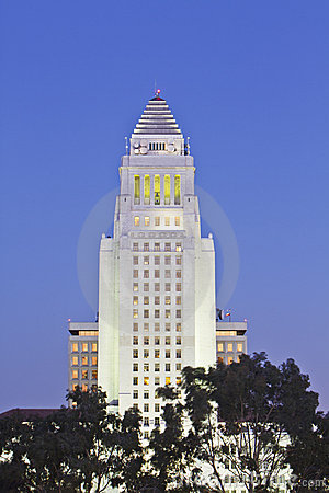 Los Angeles City Hall in the downtown area.