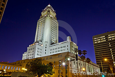 Los Angeles City Hall At Nightime