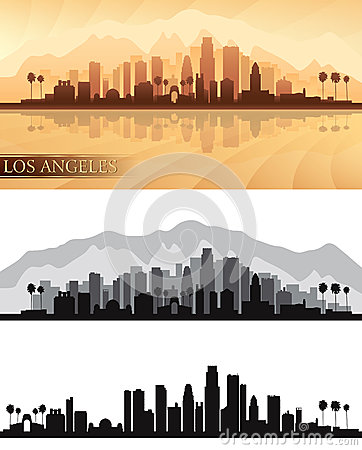 Los Angeles city skyline detailed silhouettes Set