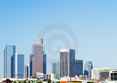 Los Angeles city skyline in morning Editorial Stock Photo