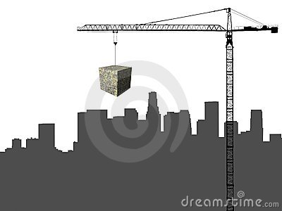 Los Angeles and Crane with cube