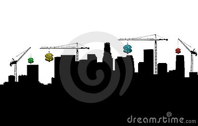 Los Angeles with cranes and dollars
