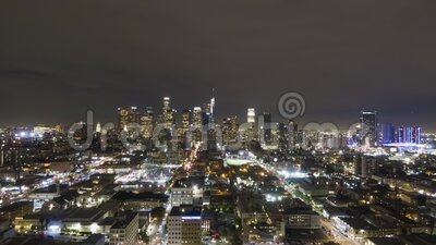 Los Angeles Downtown della Notte California, USA Vista aerea video d archivio