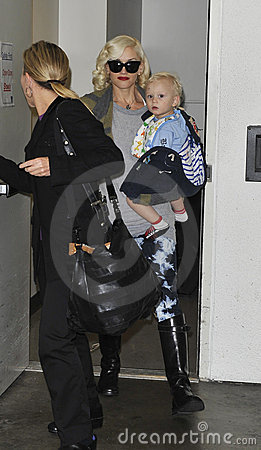 LOS ANGELES - FEBRUARY 12, Gwen Stefani & son LAX Editorial Stock Photo