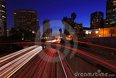 Los Angeles Freeway at Night