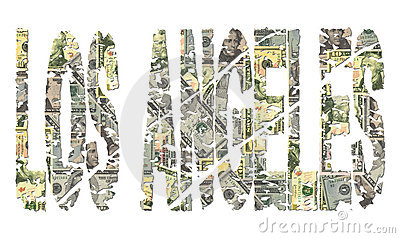 Los Angeles grunge text with dollars