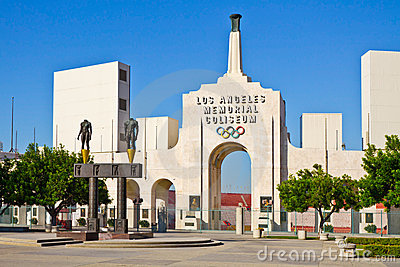 Los Angeles Memorial Coliseum On A Clear Day Editorial Stock Image
