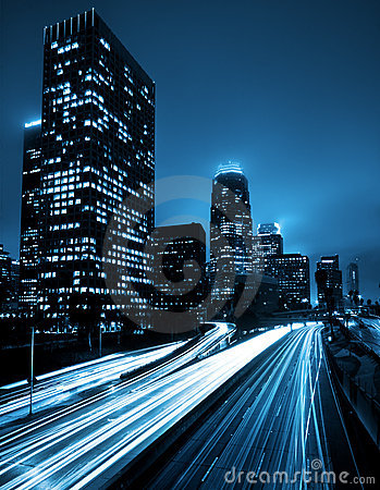 Free Los Angeles Skyline At Night Royalty Free Stock Photography - 9372197