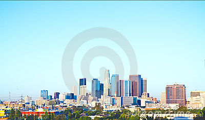 Los Angeles Skyline On A Crisp, Cool Morning Editorial Photo