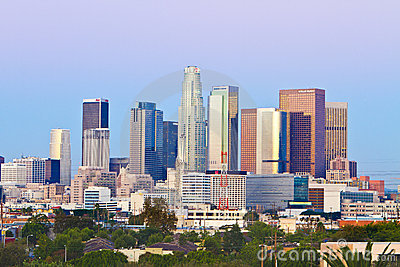 Los Angeles Skyline On A Crisp, Cool Morning Editorial Stock Photo