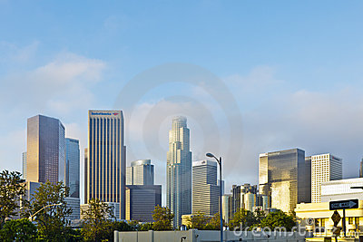 Los angeles Skyline In Early Morning Clouds Editorial Stock Image