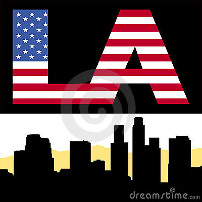 Los Angeles skyline with flag