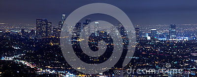 Los Angeles-Skyline nachts