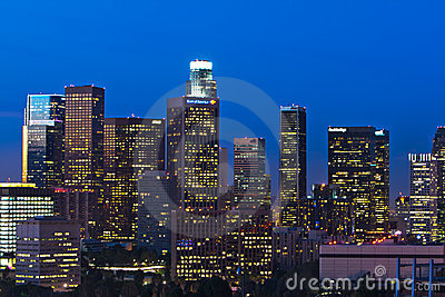 Los Angeles Skyline Shortly Before Dawn Editorial Photography