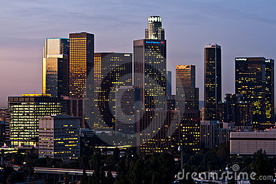 Los Angeles Skyline Shortly Before Dawn Editorial Stock Photo