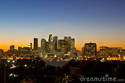 Los Angeles Skyline Shortly Before Dawn Editorial Photo
