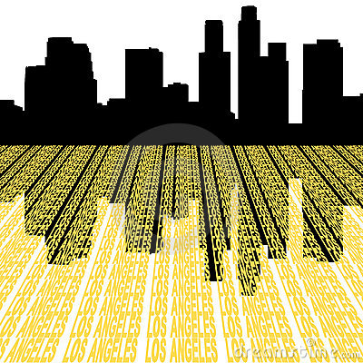 Los Angeles Skyline with text