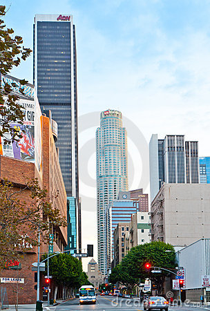Los Angeles Street Scene Shortly After Dawn Editorial Stock Image