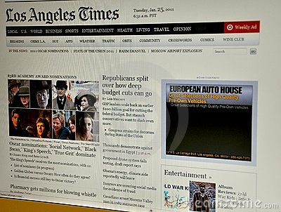 The Los Angeles Times website Editorial Stock Photo