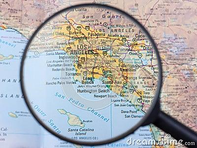Los Angeles under magnifier