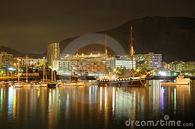 Los Cristianos at night. Tenerife, Spain