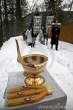 Los cristianos ortodoxos celebran Epithany Imagen editorial
