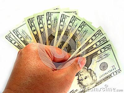 Los E.E.U.U. veinte cuentas y mano de dólar