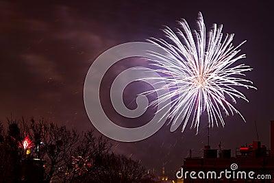 Los fuegos artificiales visualizan en Noche Vieja