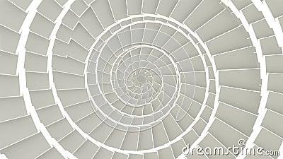 Los gráficos abstractos del movimiento del cgi y el fondo animado colocado con los cubos blancos en espiral arreglan el túnel Laz metrajes