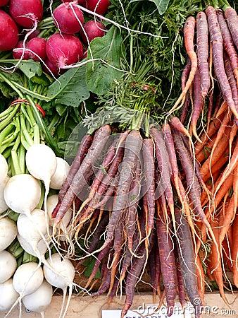 Los granjeros ponen zanahorias púrpuras