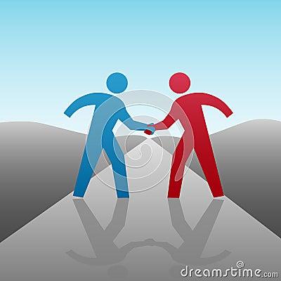 Los hombres de negocios progresan juntos apretón de manos
