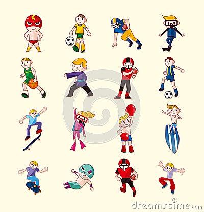 Iconos del jugador del deporte fijados