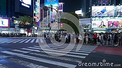 Los Leute, die auf Shibuya-Überfahrt nachts warten stock video footage