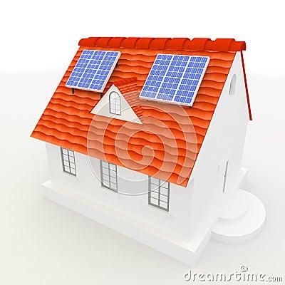 Los paneles de energ a solar en una azotea de la casa for La casa de la azotea