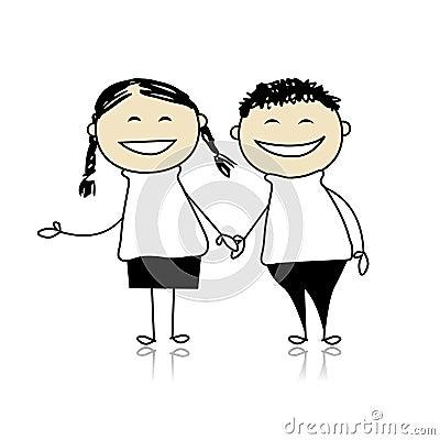 Los pares divertidos ríen - muchacho y muchacha juntos