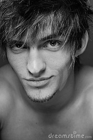 Сlose-up portrait of  male model
