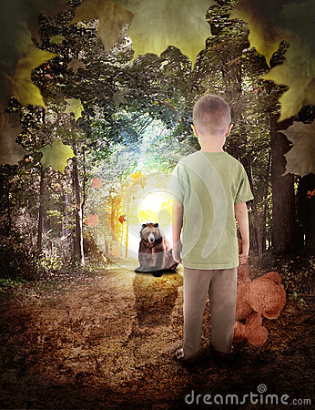 Lost Boy in Dream Woods with Bear Animal
